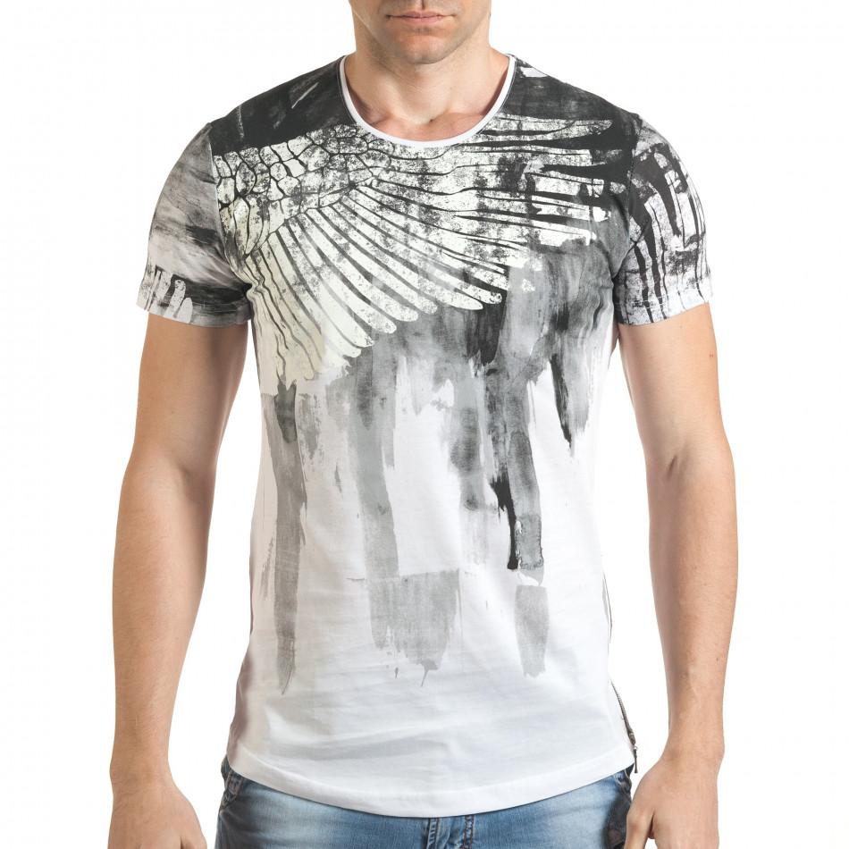 Мъжка бяла тениска с як принт и странични ципове tsf140416-4