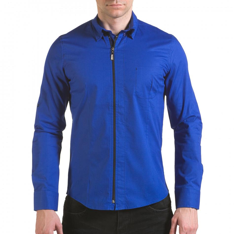 Мъжка синя риза с цип il170216-94
