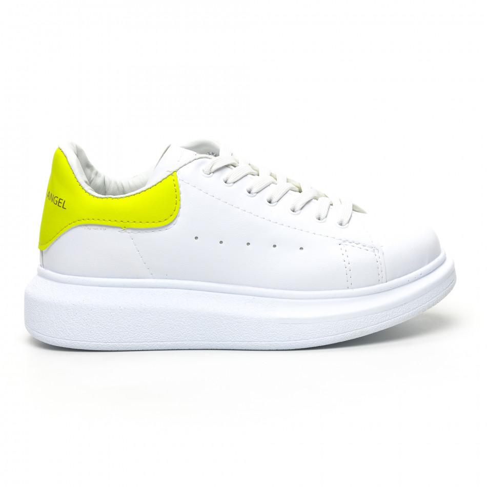 Бели дамски кецове жълта пета tr180320-21