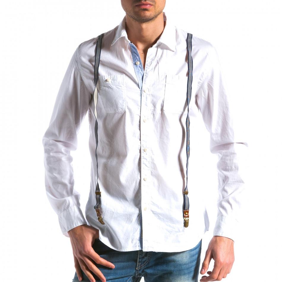 Мъжка бяла риза с тиранти tsf100214-9