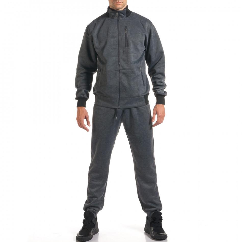 Мъжки тъмно сив спортен комплект с декоративен цип it160916-76