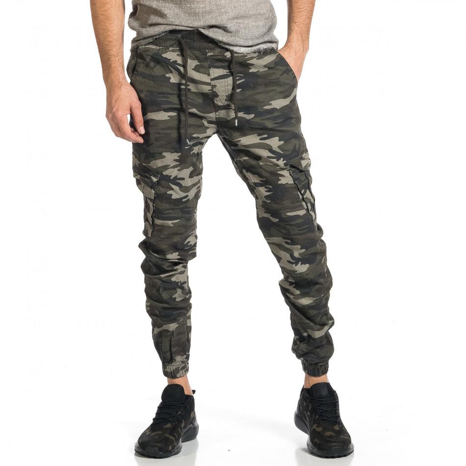 Мъжки карго панталон сиво-зелен камуфлаж tr270421-6