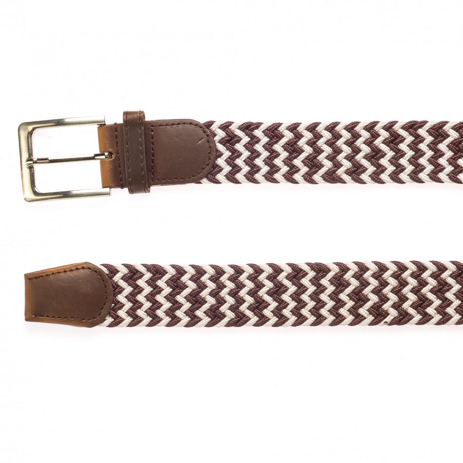 Мъжки плетен колан в бяло и кафяво it250915-4