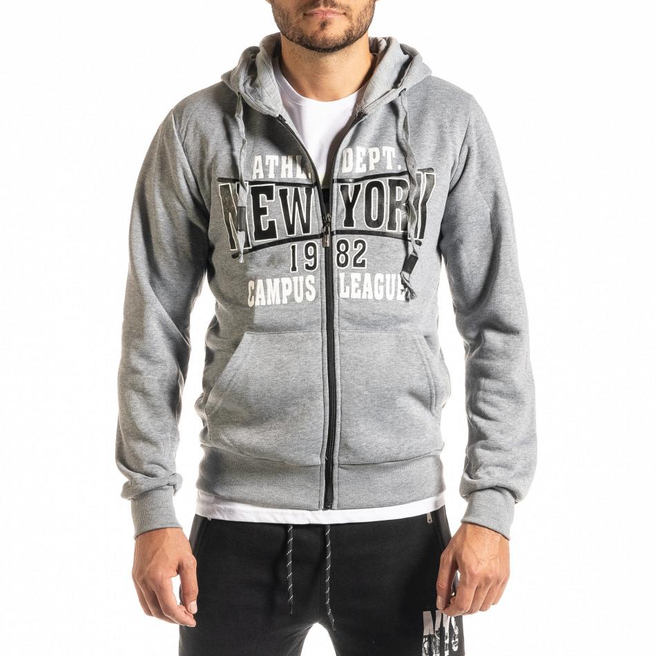 Мъжки сив суичър с цип New York it300920-38