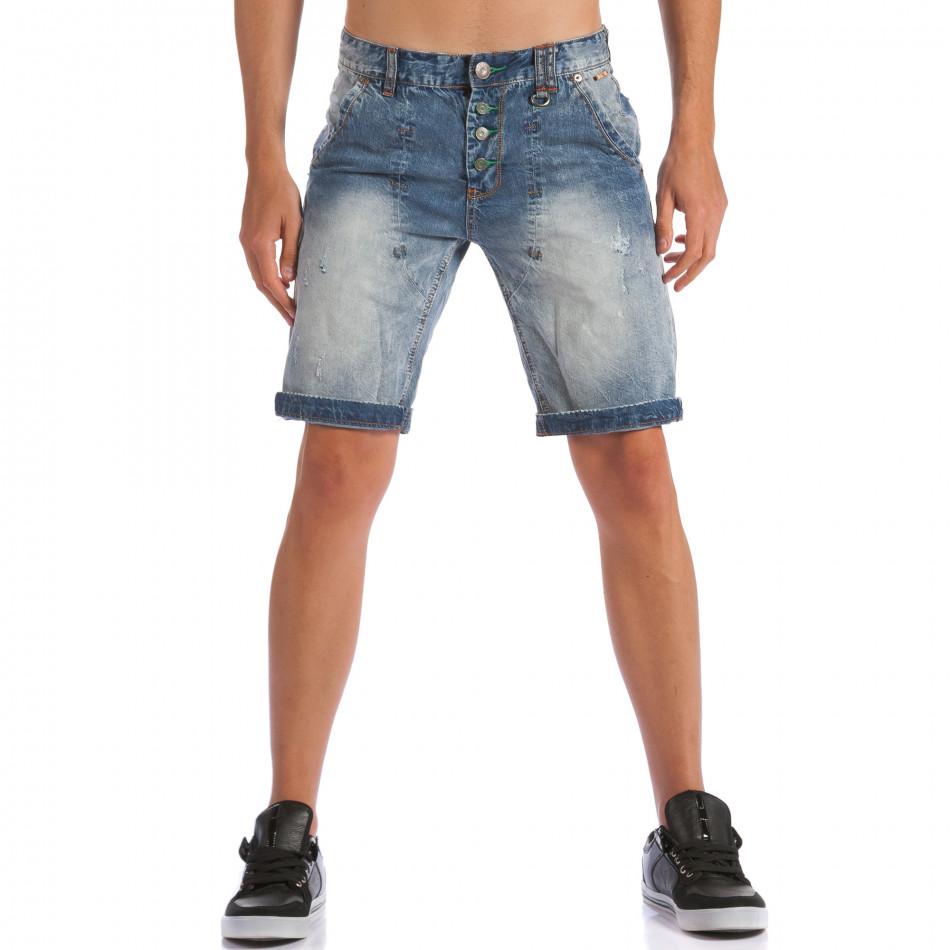 Мъжки къси дънки с допълнителни шевове ca100615-28