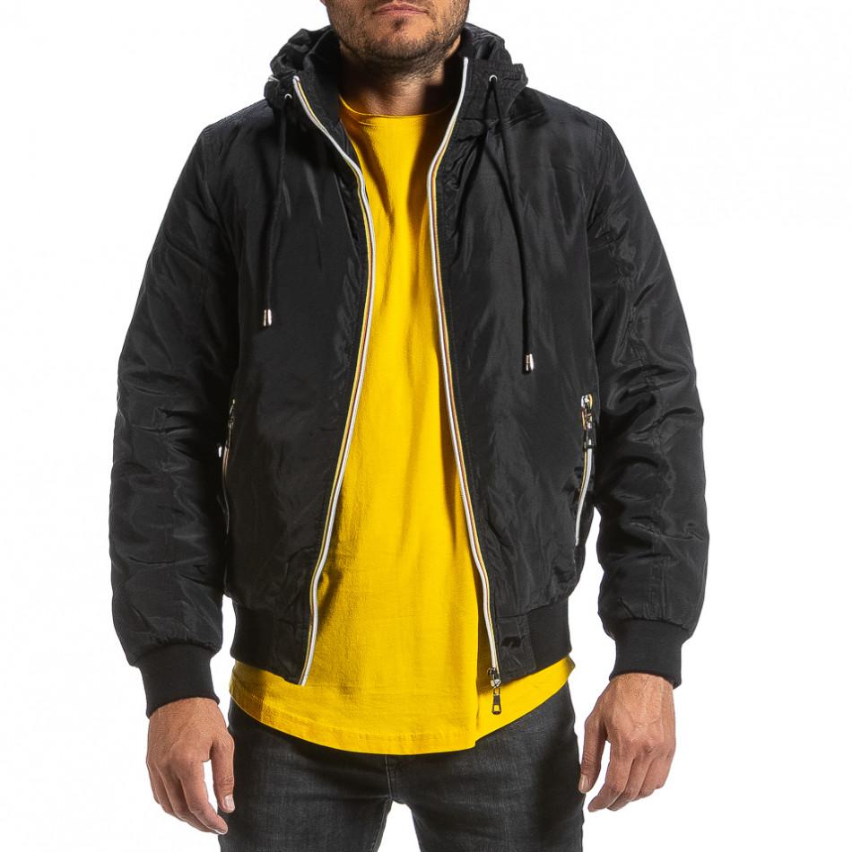 Мъжко черно яке с прибираща се качулка it070921-27