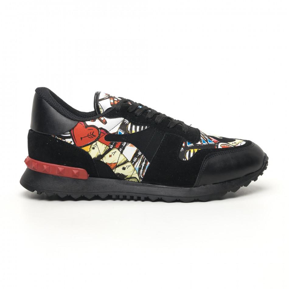 Комбинирани мъжки маратонки черно с принт tr180320-29