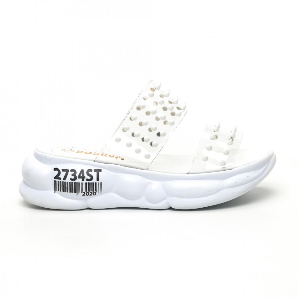 Дамски прозрачни чехли бели шипове tr180320-8