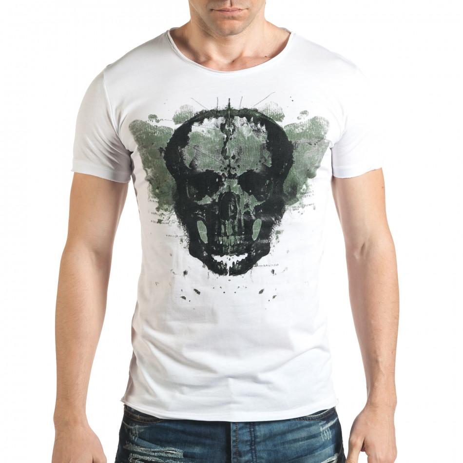 Бяла тениска с голям череп отпред il140416-13