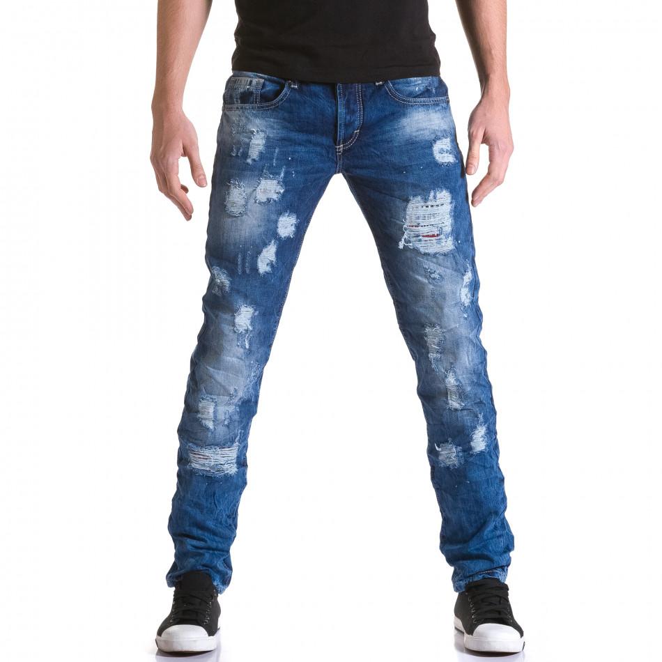 Мъжки дънки с големи скъсвания и пръски боя it031215-6