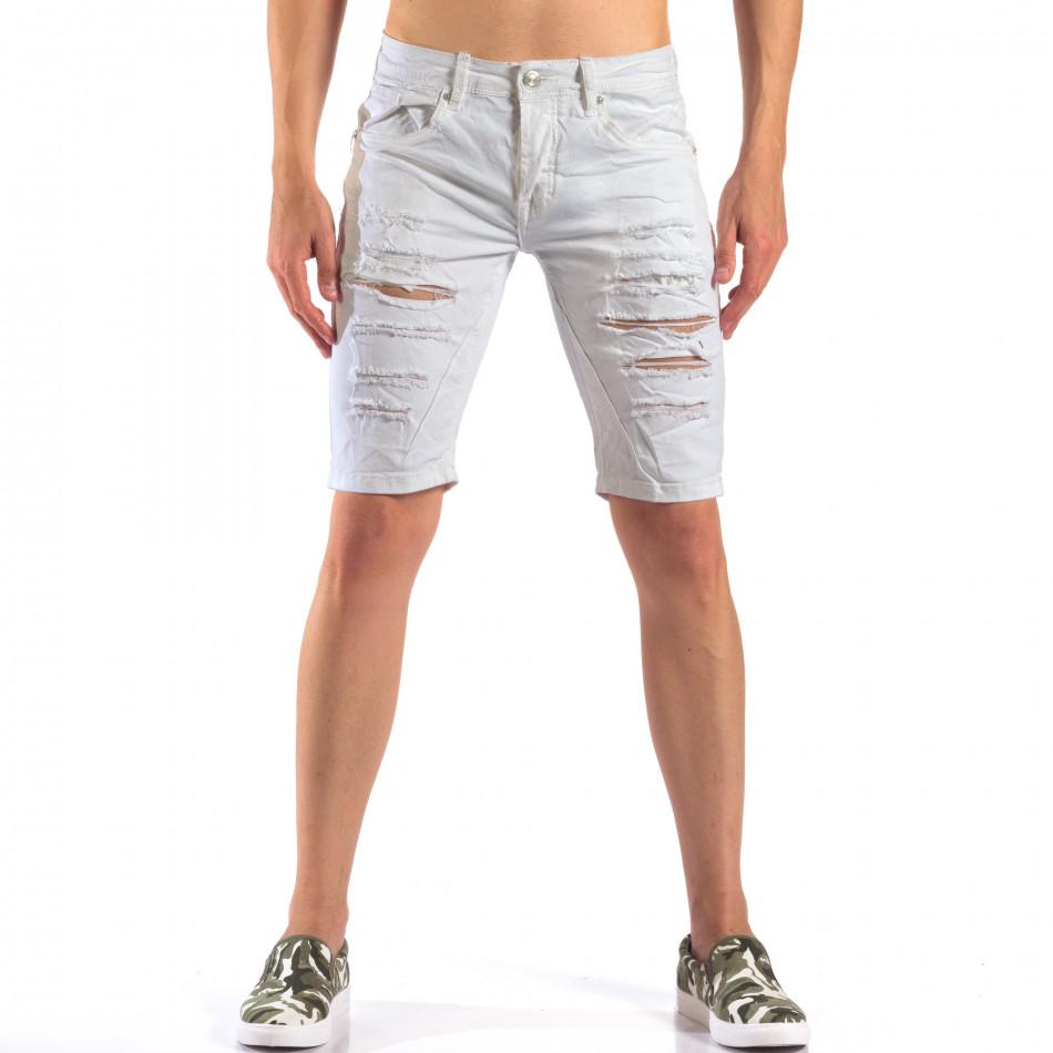 Мъжки бели къси дънки със скъсвания it160616-19