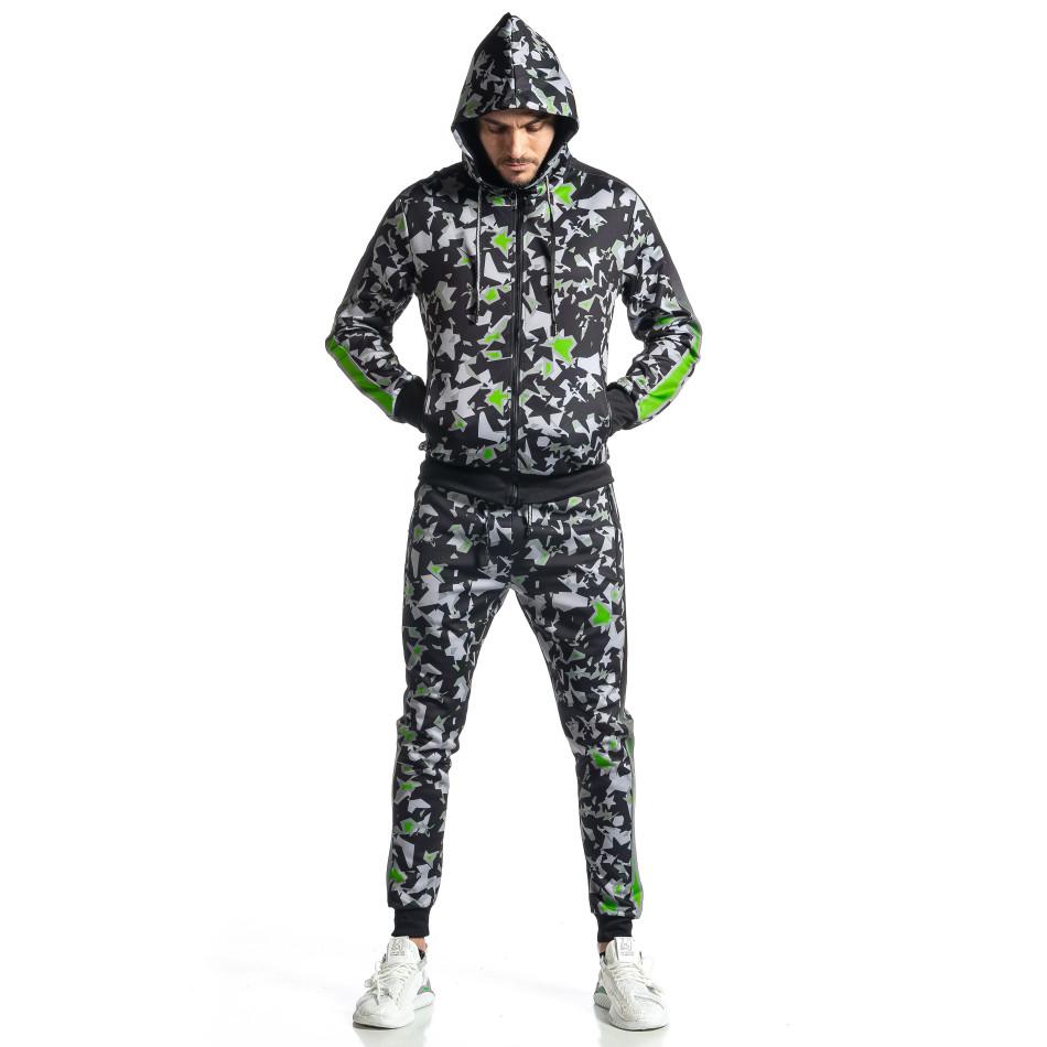 Мъжки черно-зелен анцуг All over print it010221-50