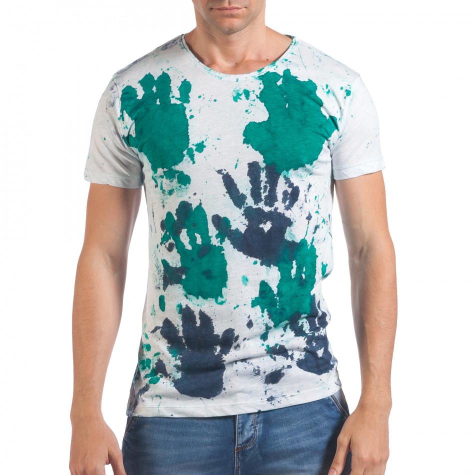 Мъжка бяла тениска със зелени и сини отпечатъци il060616-50
