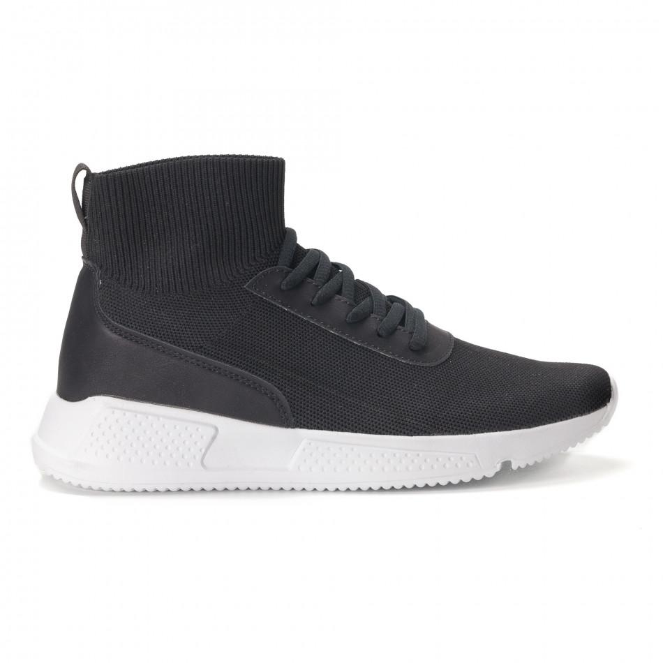 Комбинирани черни мъжки маратонки тип чорап it020618-17