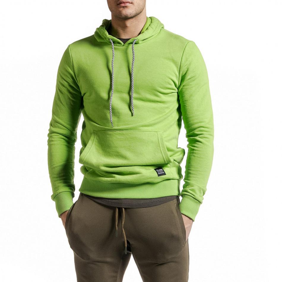 Basic мъжки суичър-анорак неоново зелен tr231220-9