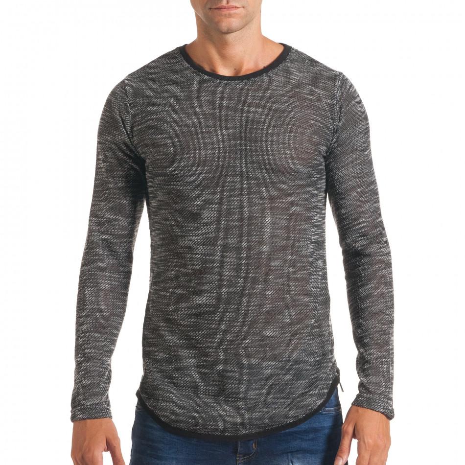 Мъжка тъмно сива блуза със странични ципове it180816-11
