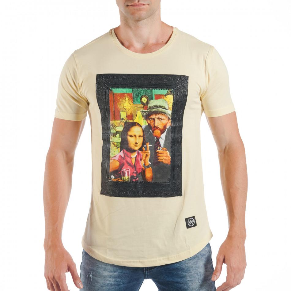 Мъжка жълта тениска с поп-арт принт tsf250518-12