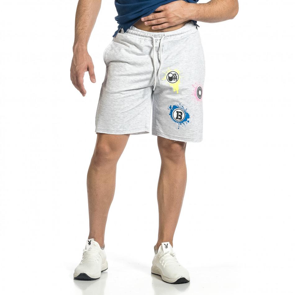 Трикотажни мъжки сиви шорти с принт tr150521-22