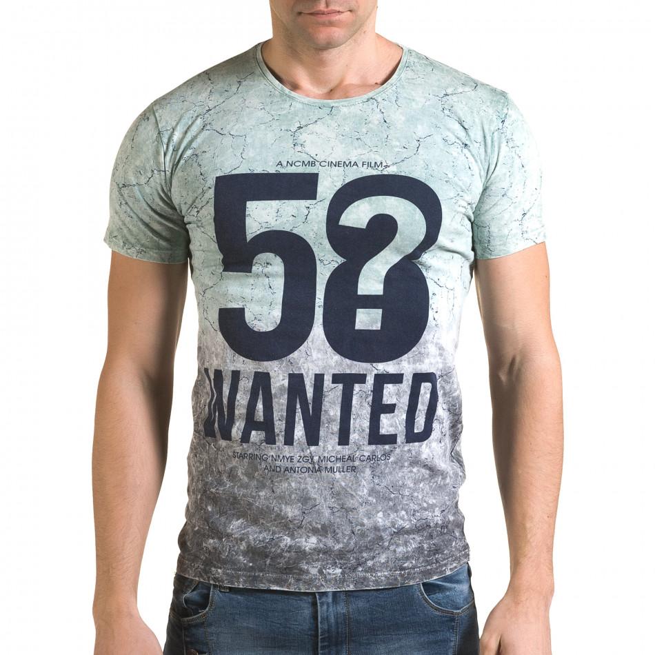 Мъжка зелено-сива тениска 58 Wanted il120216-57