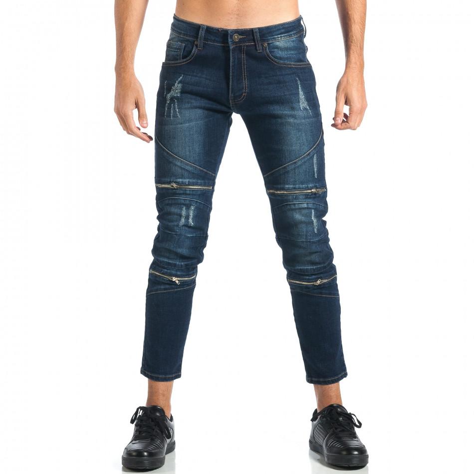 Мъжки дънки с декоративни ципове it260917-72
