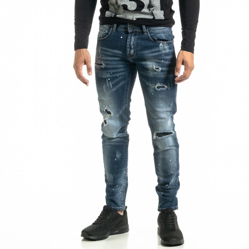 Slim fit Destroyed мъжки сини дънки it020920-16