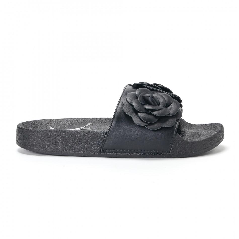 Дамски черни чехли с релефни цветя it230418-21