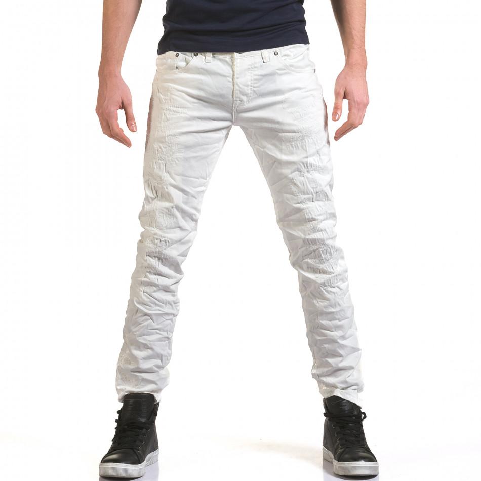 Мъжки бели дънки с малки декоративни скъсвания it090216-25
