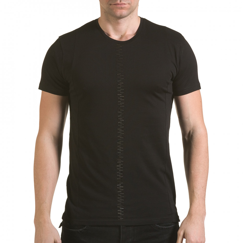 Мъжка черна тениска с метални детайли il170216-54