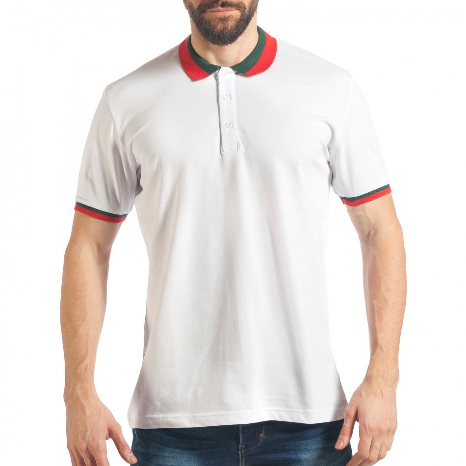 Мъжка бяла тениска с двуцветна яка  tsf020218-61