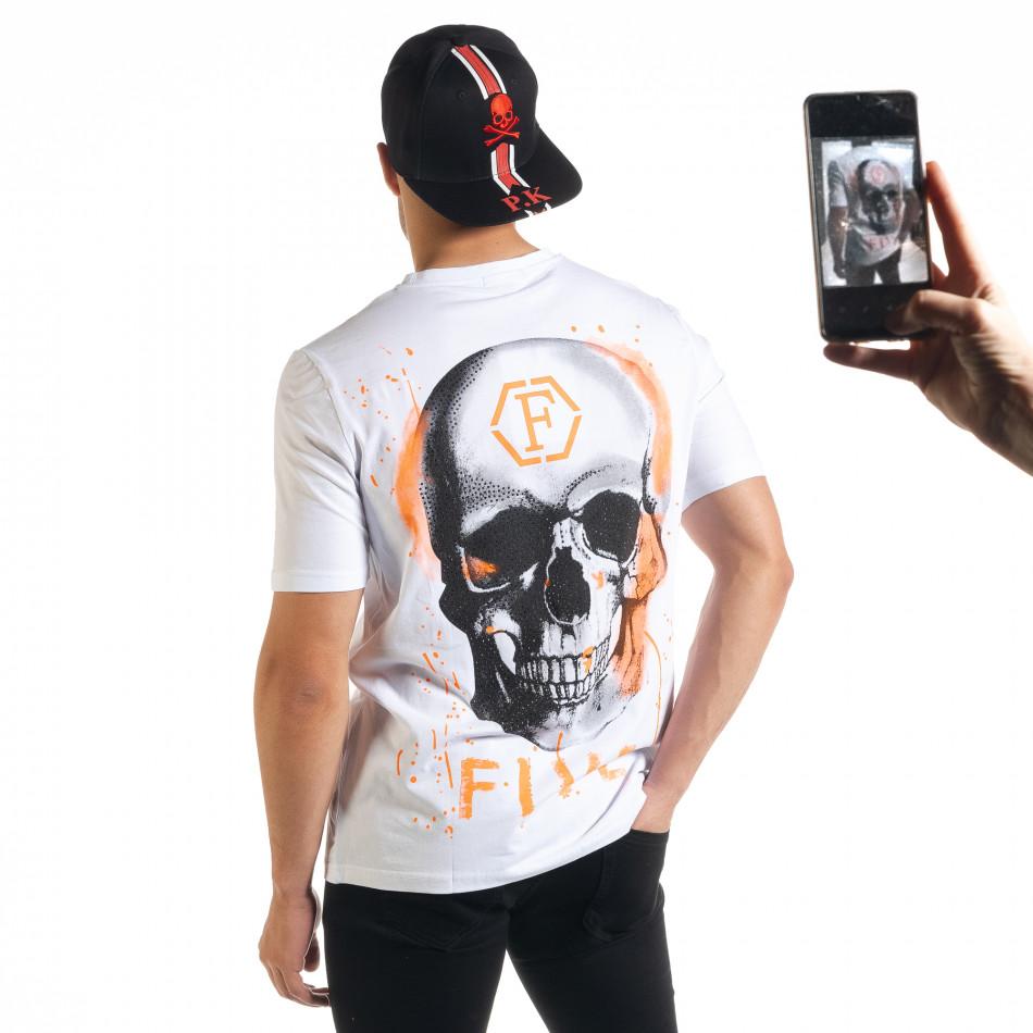 Бяла мъжка тениска с принт на гърба iv080520-50