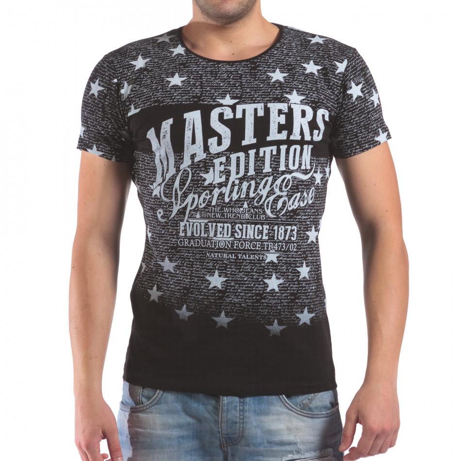 Мъжка черна тениска със звезди и надписи il210616-14