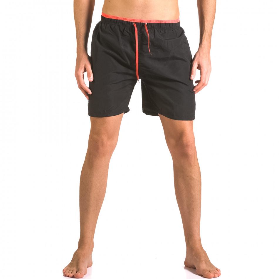 Мъжки черни бански шорти с връзки и бандаж ca050416-23