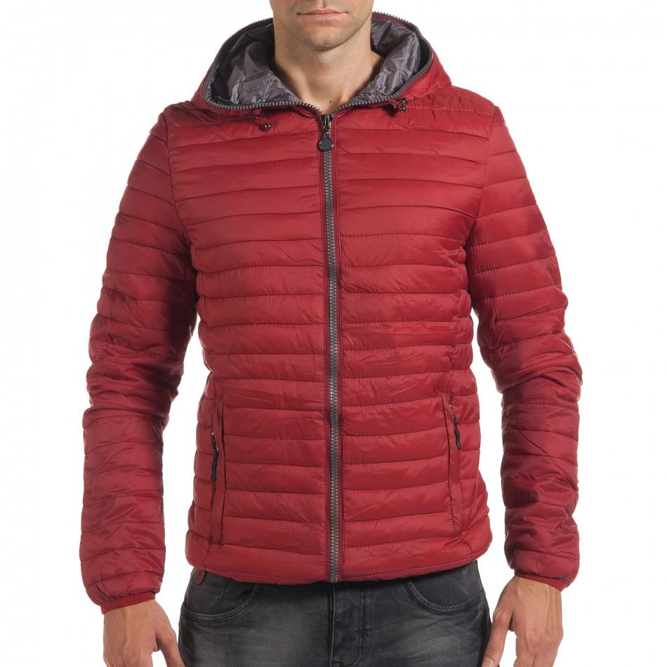Мъжко червено пролетно-есенно яке с хоризонтални шевове it190616-12