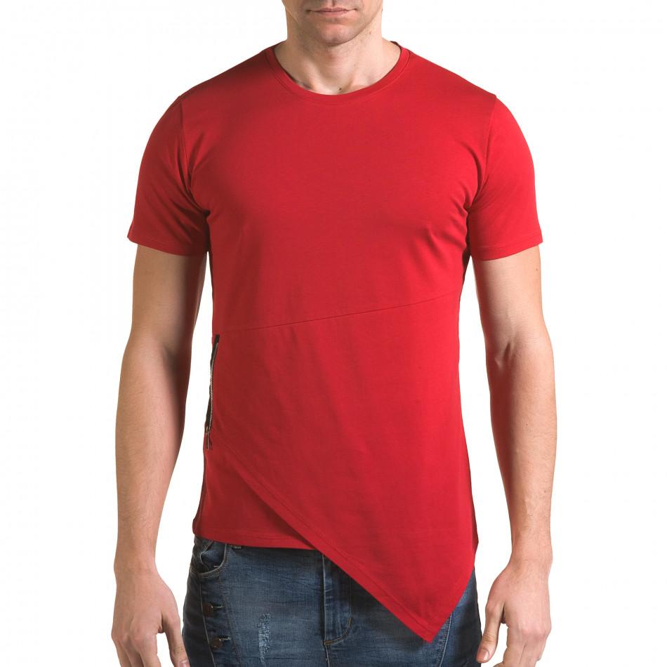 Мъжка червена тениска с асиметрична кройка it090216-68