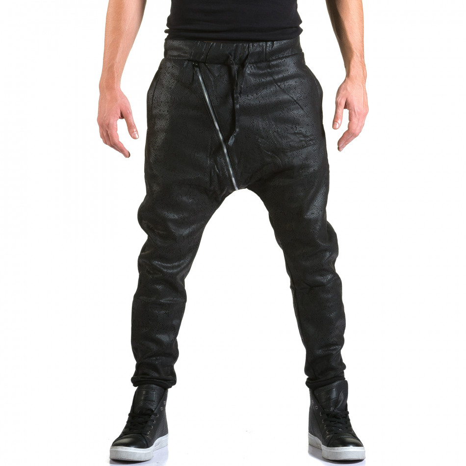 Мъжки черни потури с ефект на змийска кожа it211015-60