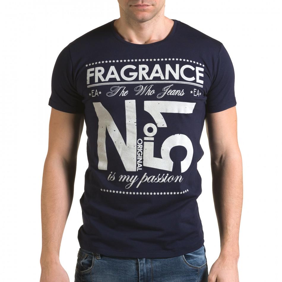 Мъжка синя тениска Fragrance No.51 il120216-28