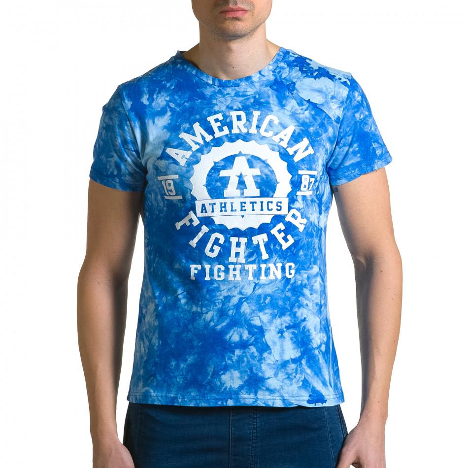 Мъжка синя тениска с бял принт отпред ca190116-43