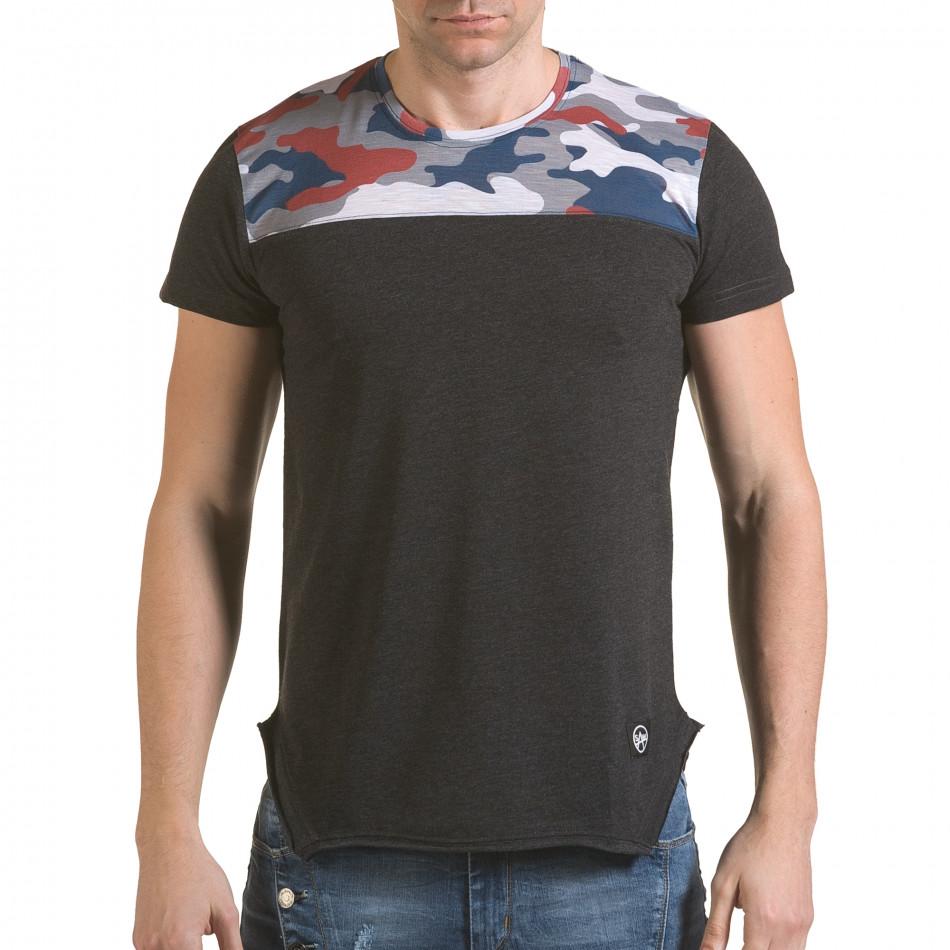 Мъжка сива тениска с камуфлаж на раменете il170216-53