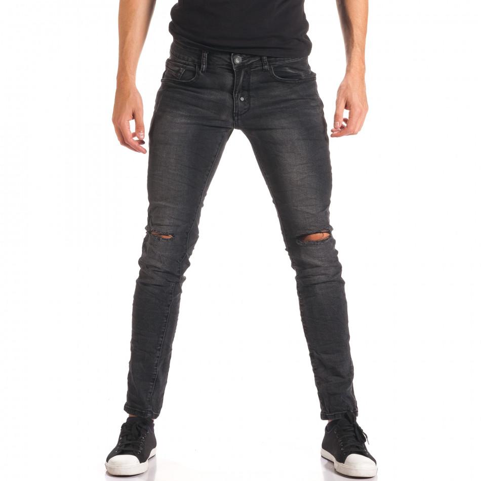 Мъжки тъмно сиви дънки със скъсвания на коленете it150816-16