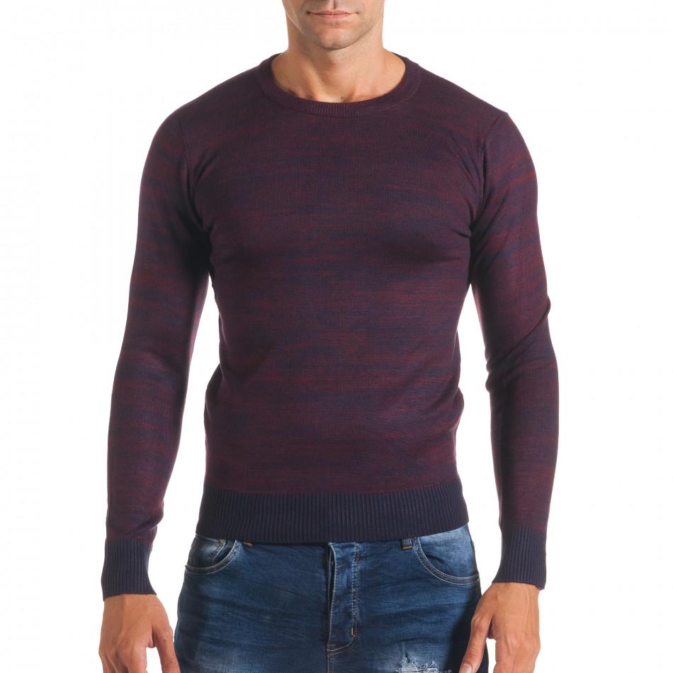 Мъжки лилав пуловер с обло деколте it170816-13