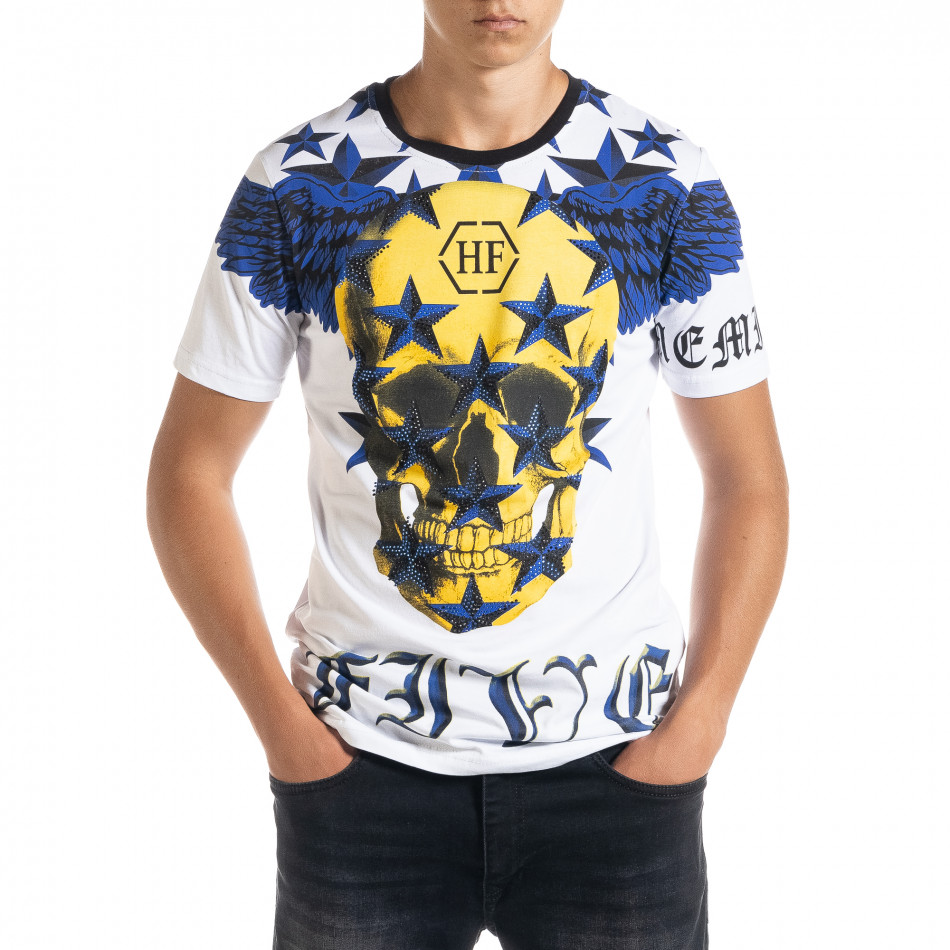 Бяла мъжка тениска рокерски стил iv080520-84