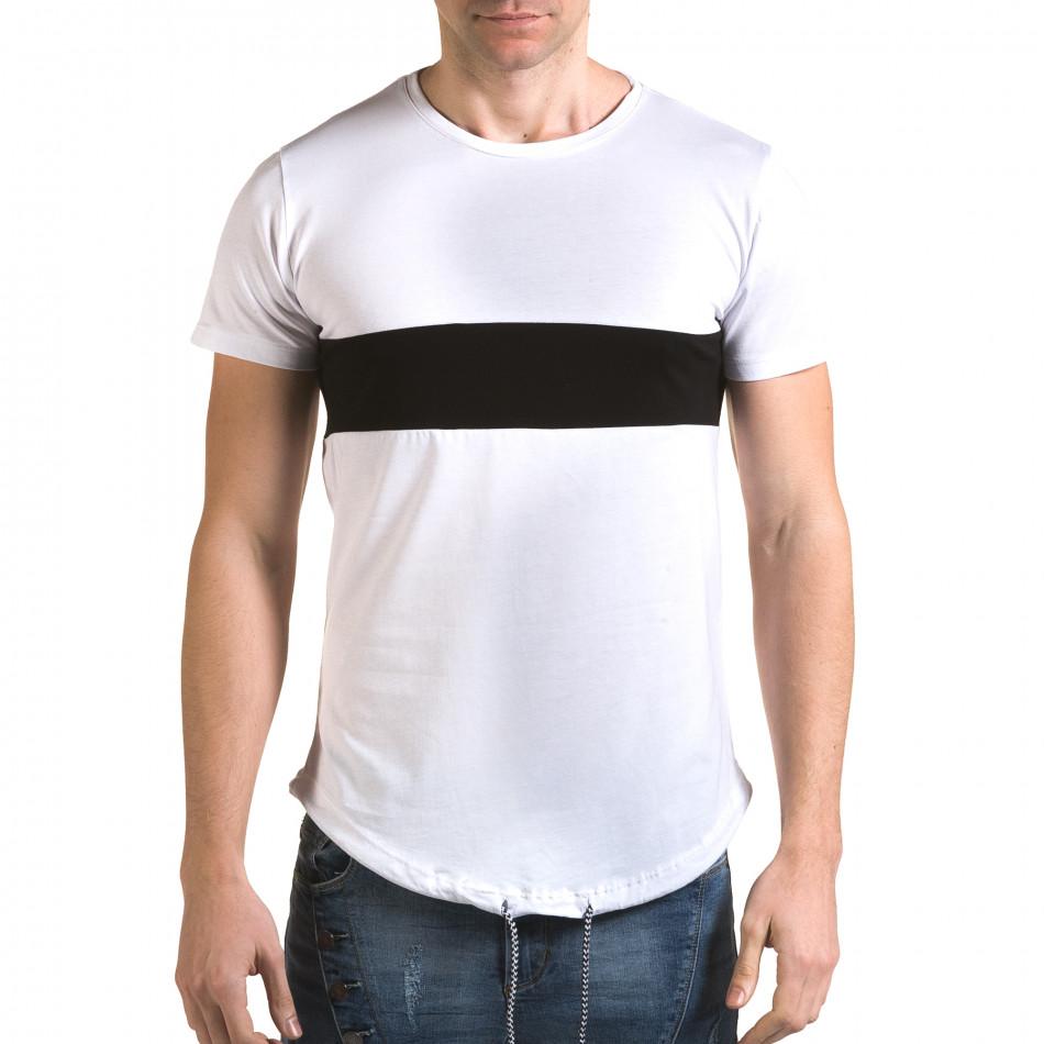 Мъжка бяла издължена тениска с черна лента it090216-67