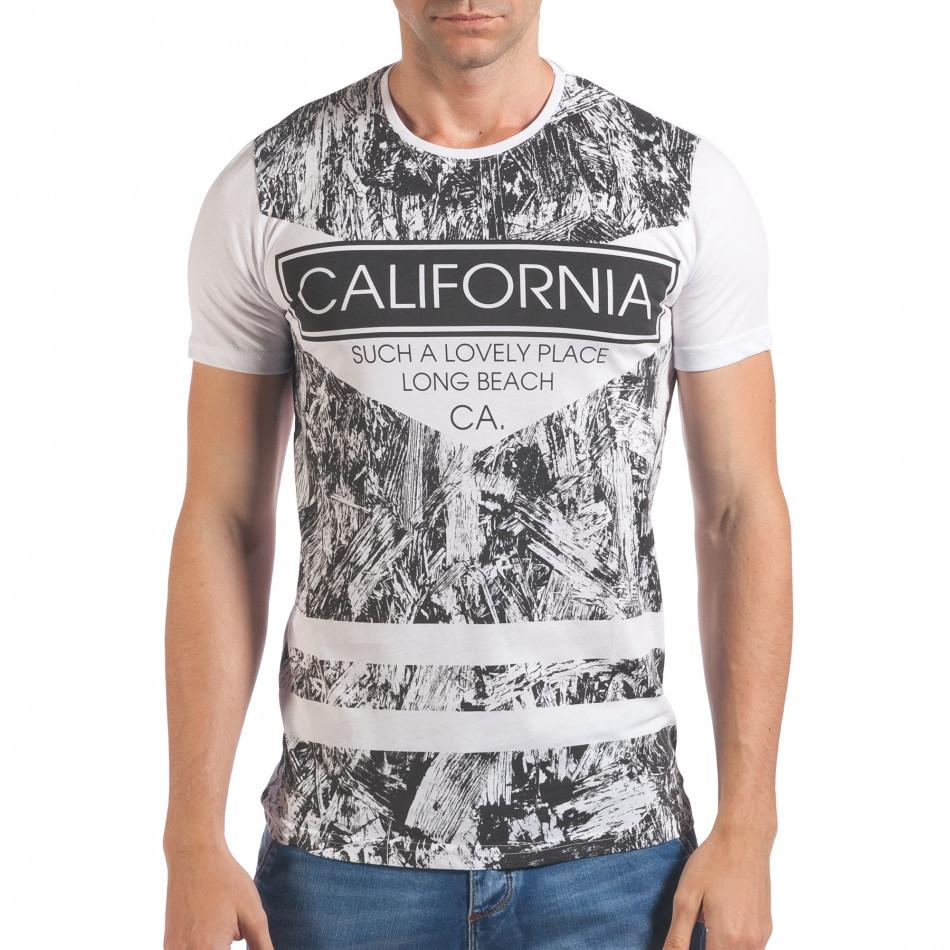 Мъжка бяла тениска с надпис California il060616-63