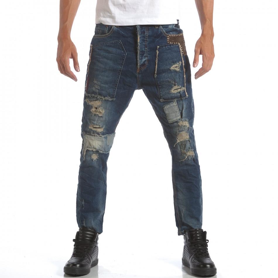 Мъжки дънки с големи декоративни кръпки it160817-60