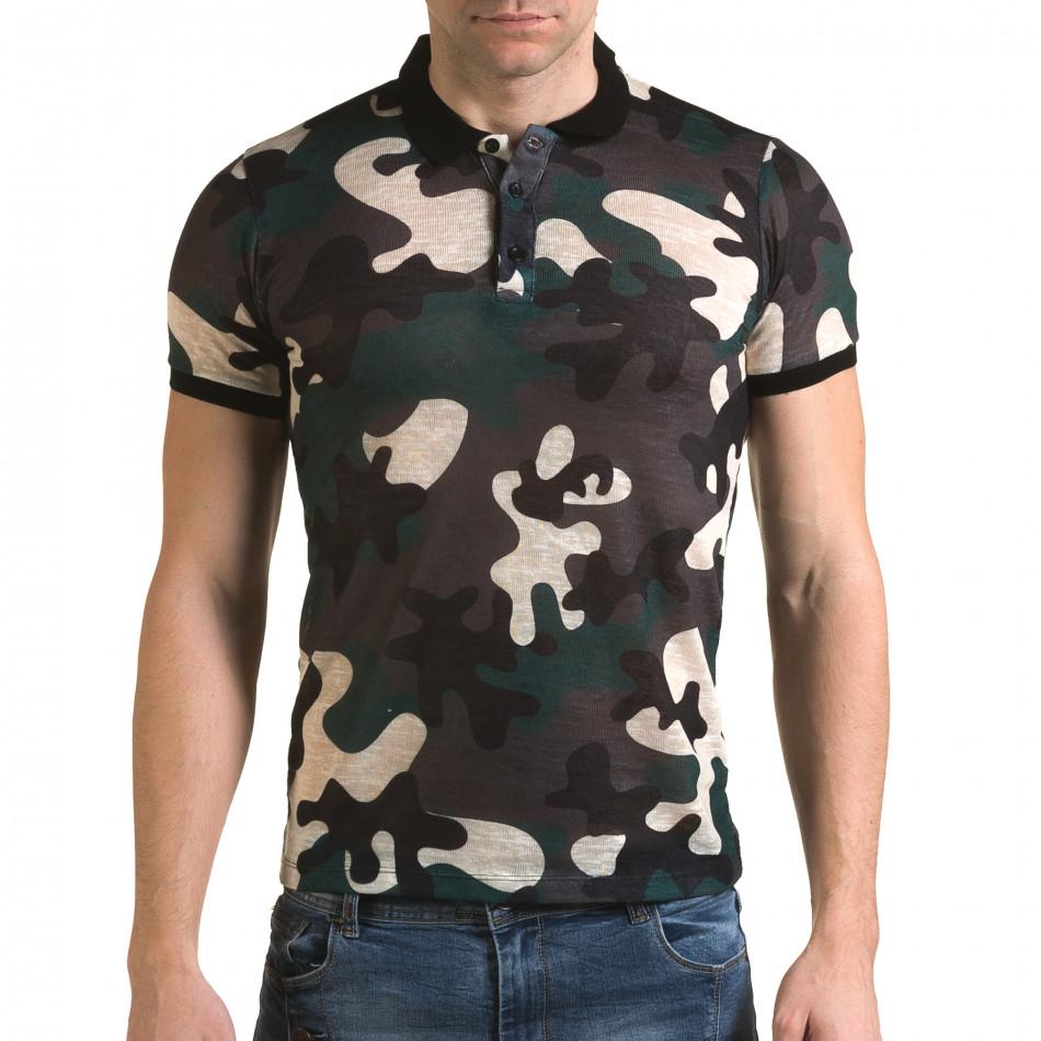 Мъжка тениска с яка зелен камуфлаж il120216-20