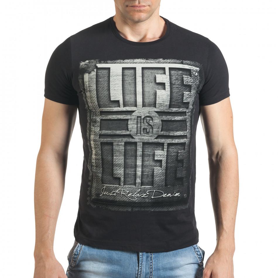 Мъжка черна тениска с голям надпис il140416-42