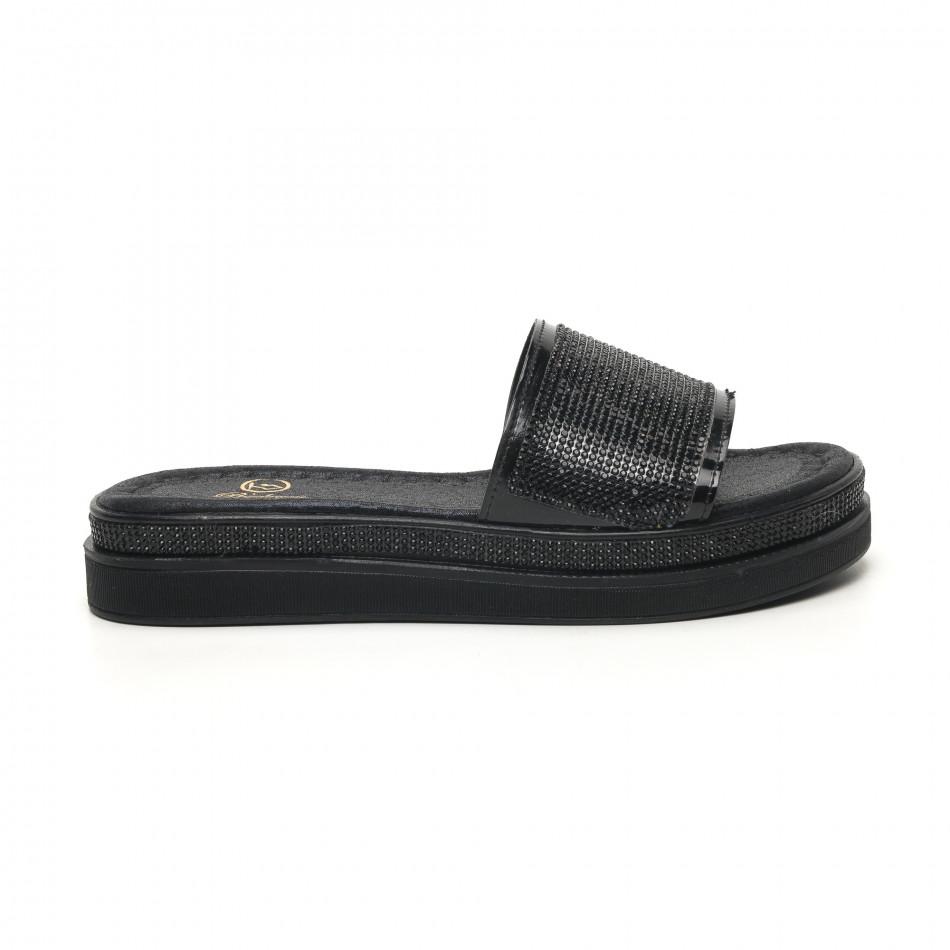 Дамски черни чехли с камъчета tr180320-1