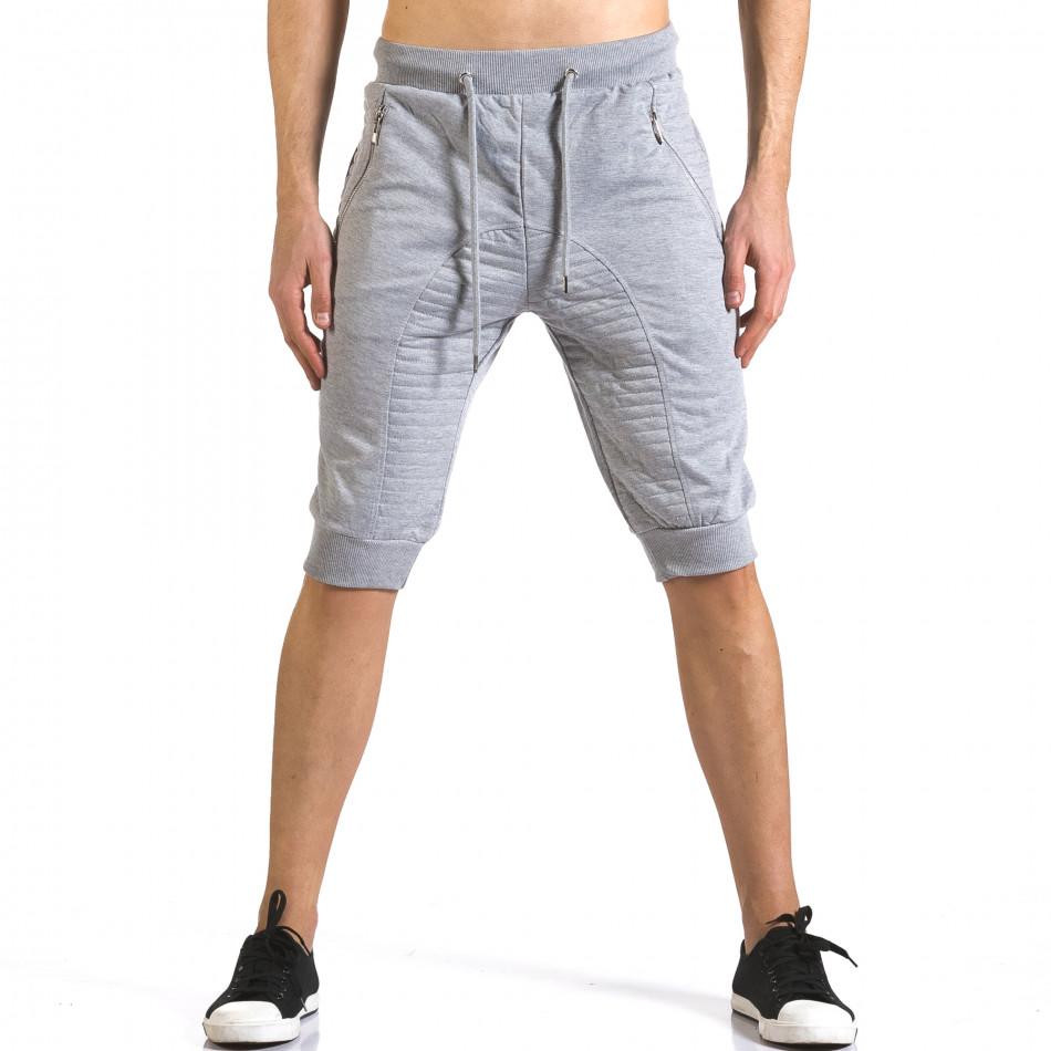 Мъжки сиви къси потури с ципове на джобовете it110316-84