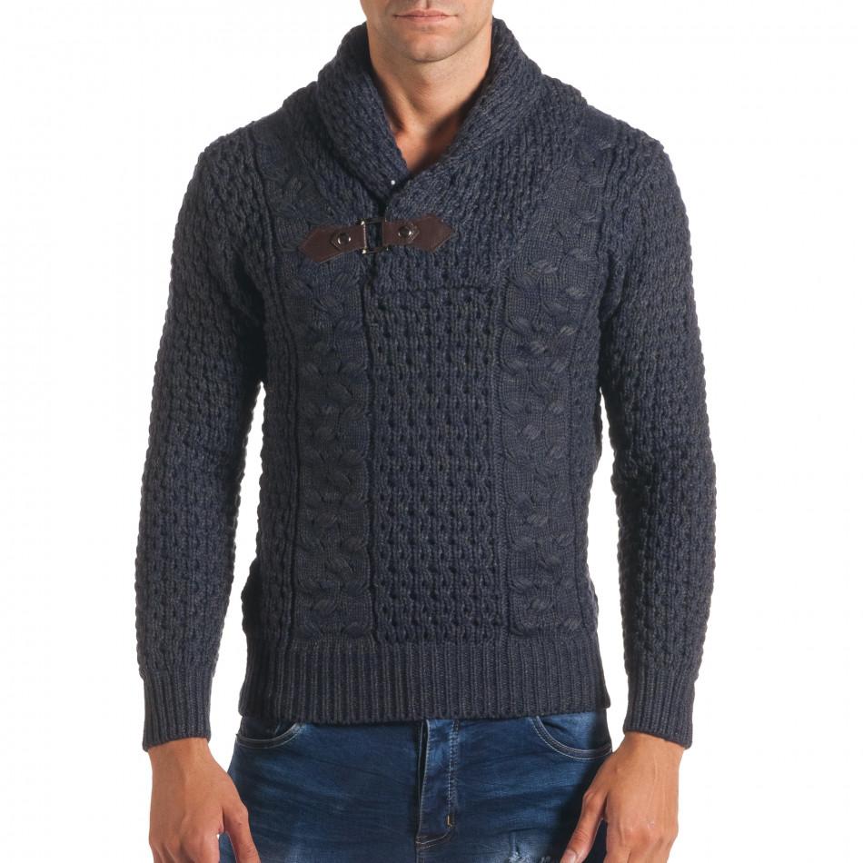 Мъжки синьо-сив зимен пуловер със закопчаване на яката it170816-20