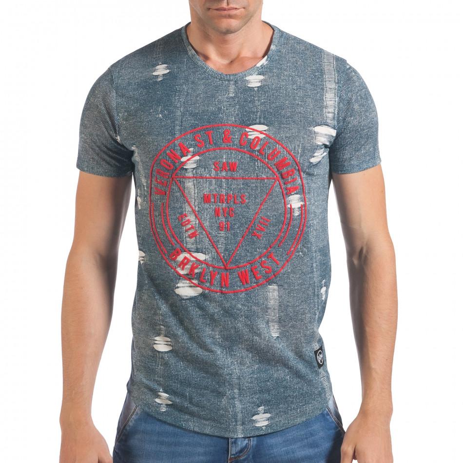 Мъжка синьо-бяла тениска с червен принт il060616-30